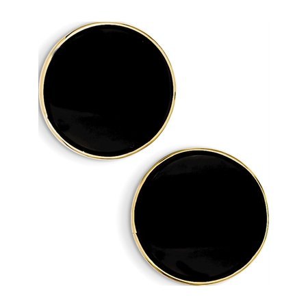 14k Yellow Gold Black Onyx (21x21mm) Earrings - image 2 of 2