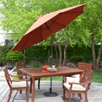 Coral Coast 9-ft. Spun-Poly Push Button Tilt Patio Umbrella with 40 lb. Base Included