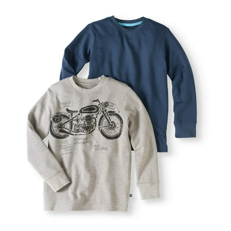 Boys' Long Sleeve Solid And Graphic Thermal Tee, 2 Pack