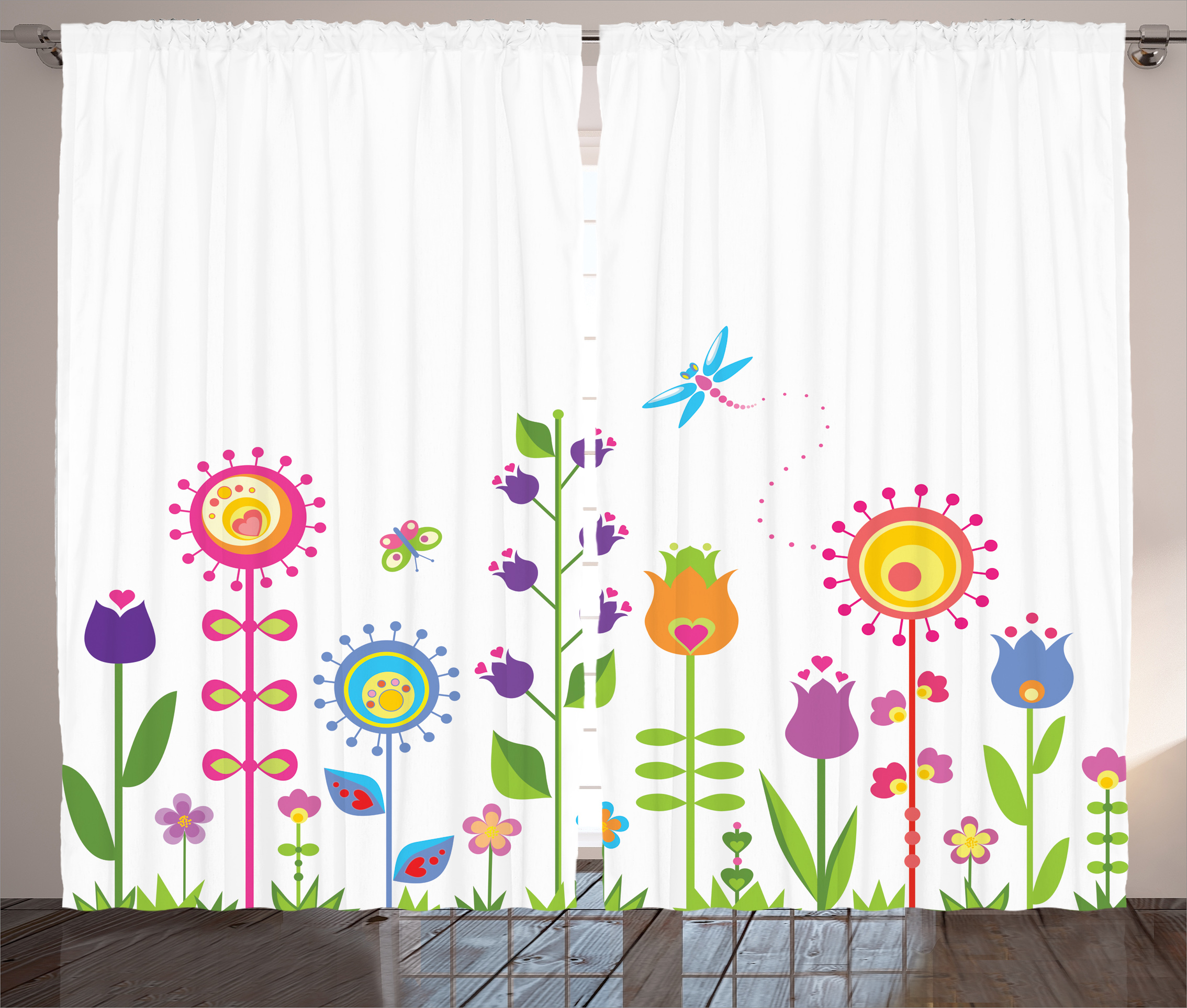 Kids Curtains 2 Panels Set, Cute Floral Set with Different Type of Flowers on Grass Hope Season Trendy Illustration,... by Kozmos