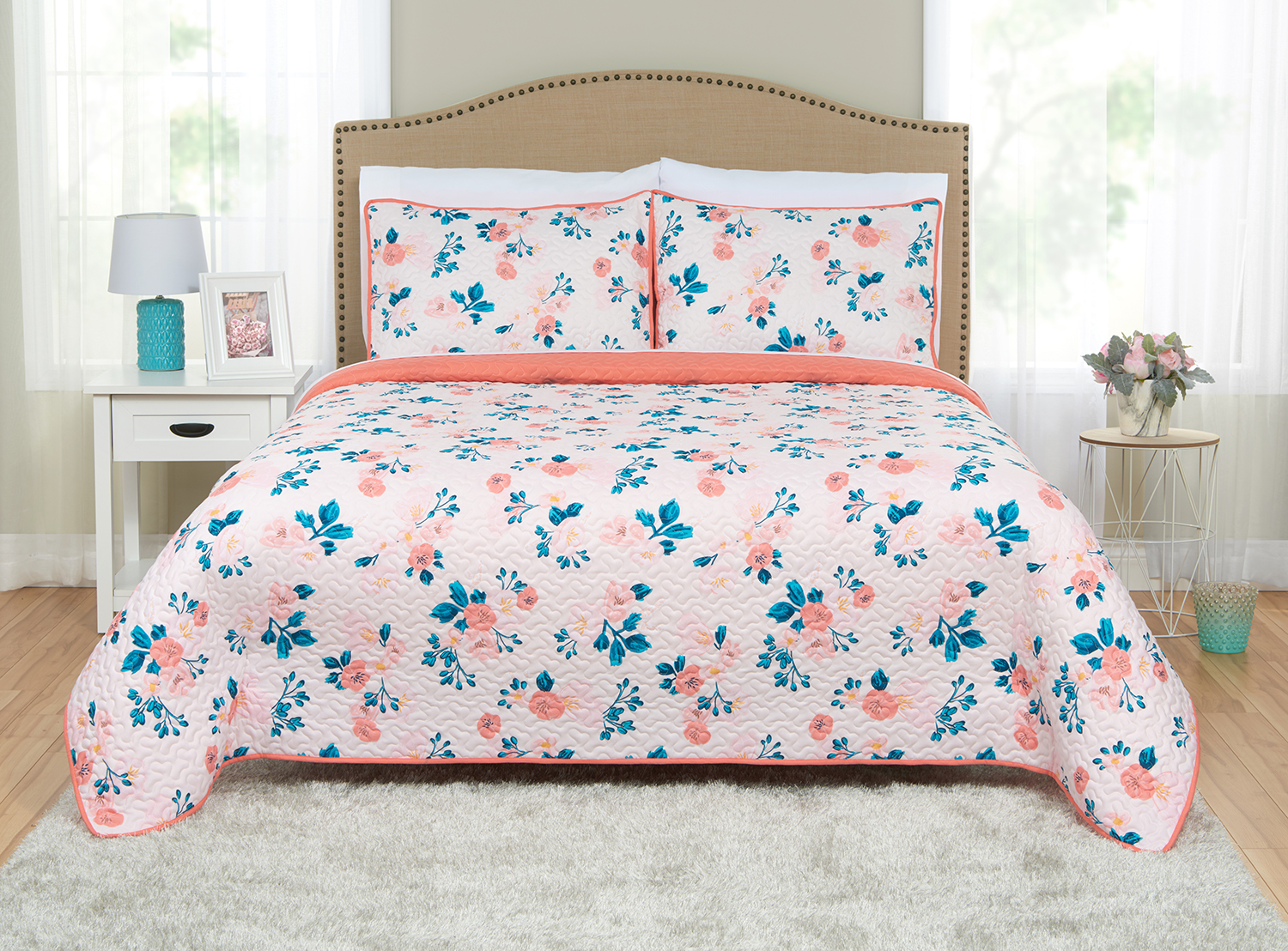 Click here to buy Better Homes and Gardens Blush Floral Quilt & Sham Set by Beco Industries.