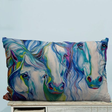 GCKG Horse Art Pillow Case Pillow Cover Pillow Protector Two Sides 20 x 30 - Protector Horse