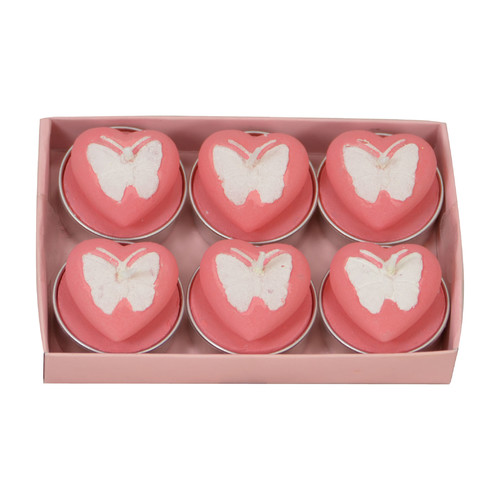 Fantastic Craft Butterfly Heart Tea Light Novelty Candle (Set of 6)
