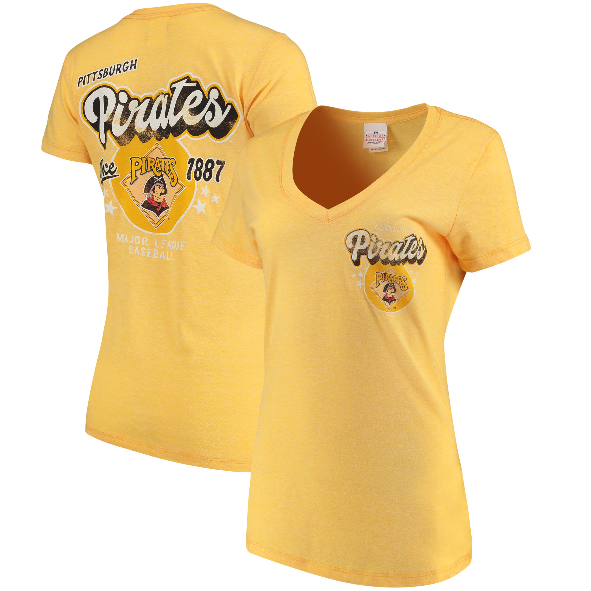 Pittsburgh Pirates 5th & Ocean by New Era Women's Cooperstown Collection Tri-Blend V-Neck T-Shirt - Heathered Gold