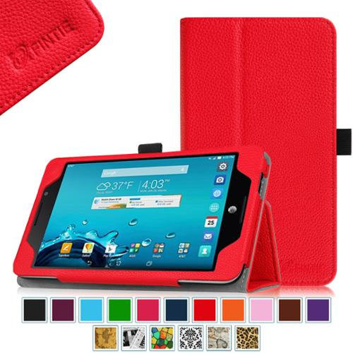 AT&T ASUS MeMo Pad 7 LTE GoPhone Prepaid Tablet Case - Fintie Folio  Smart Cover with Auto Sleep / Wake Feature, Red