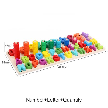 Kids Wood Sorting Puzzles Toys Shape Sorter Number and Math Stacking Blocks Toddlers Learning Toys Gift, Montessori Toys for Toddlers, Preschool Teaching, Early Education Toy - image 6 de 6