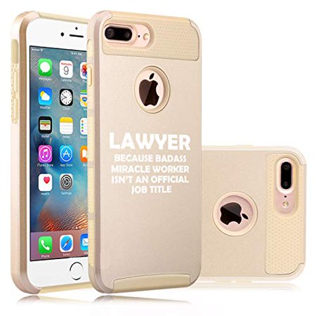 Shockproof Impact Hard Soft Case Cover for Apple iPhone Lawyer Miracle Worker Job Title Funny (Gold, for Apple iPhone 7 Plus/iPhone 8