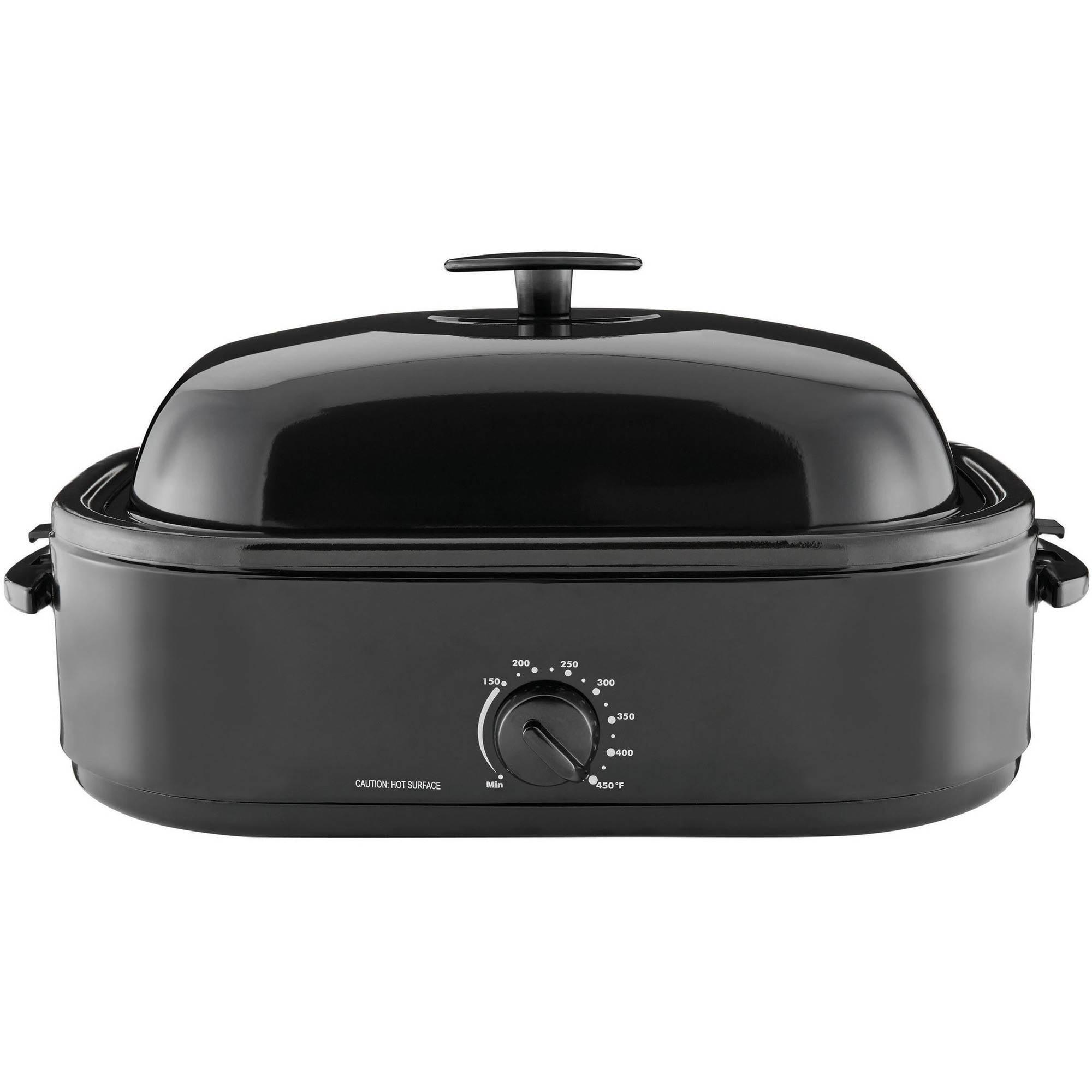 Mainstays 20-Pound Turkey Roaster with High-Dome Lid, 14-Quart, Black