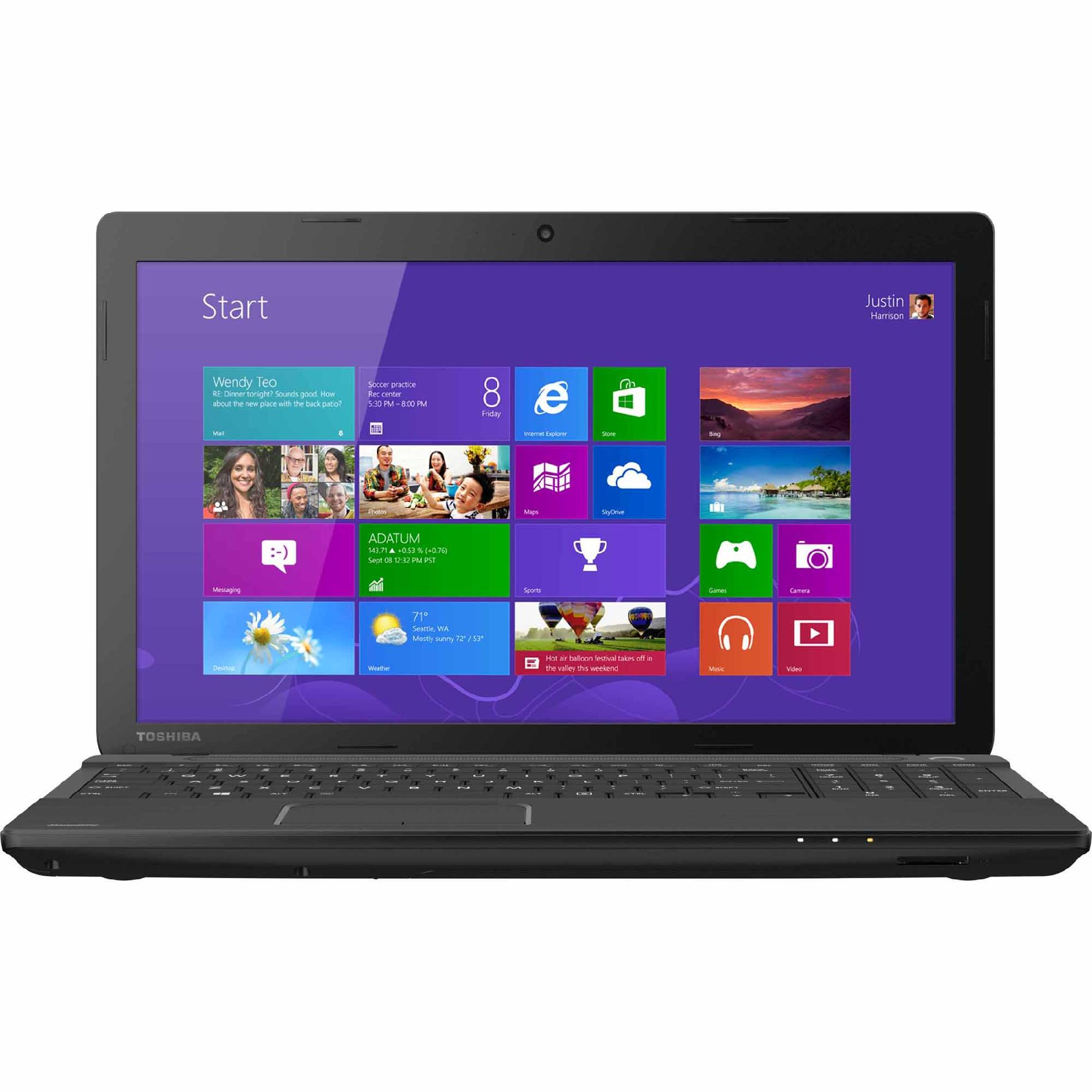 "Refurbished Toshiba Satellite 15.6"" Touchscreen Laptop PC with Intel Core i3-3110M Processor ( GHz), 6GB Memory, 500GB Hard Drive and Windows 8, C55T-A5394 (Black)"