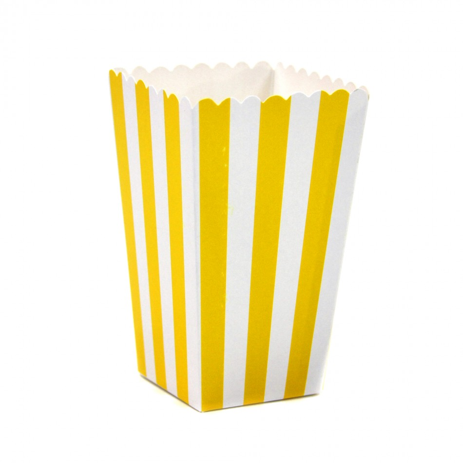 Dress My Cupcake 12-Pack Party Popcorn Boxes, Striped, Yellow