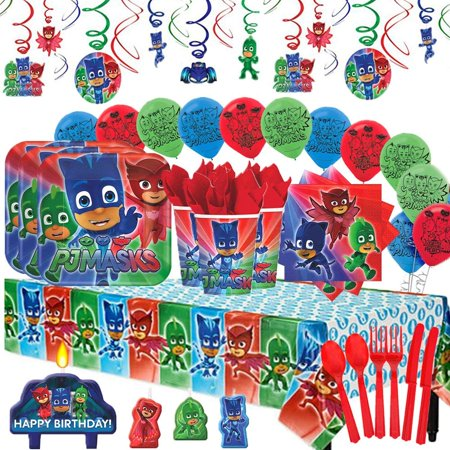 PJ Masks  Party Supplies MEGA Deluxe Pack for 16 with - Halloween Night Party 2017