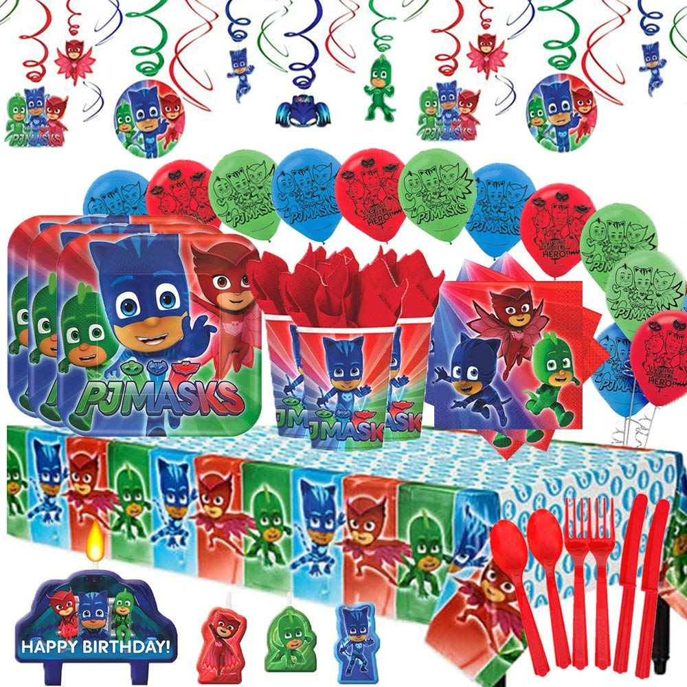 PJ Masks  Party Supplies MEGA Deluxe Pack for 16 with Decorations