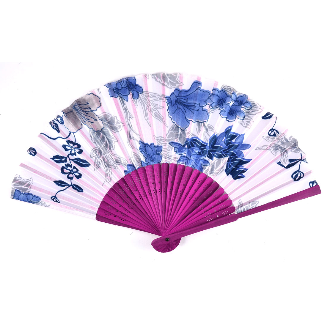 Summer Women Party Wooden Handle Flower Print Folding Hand Fan White Blue