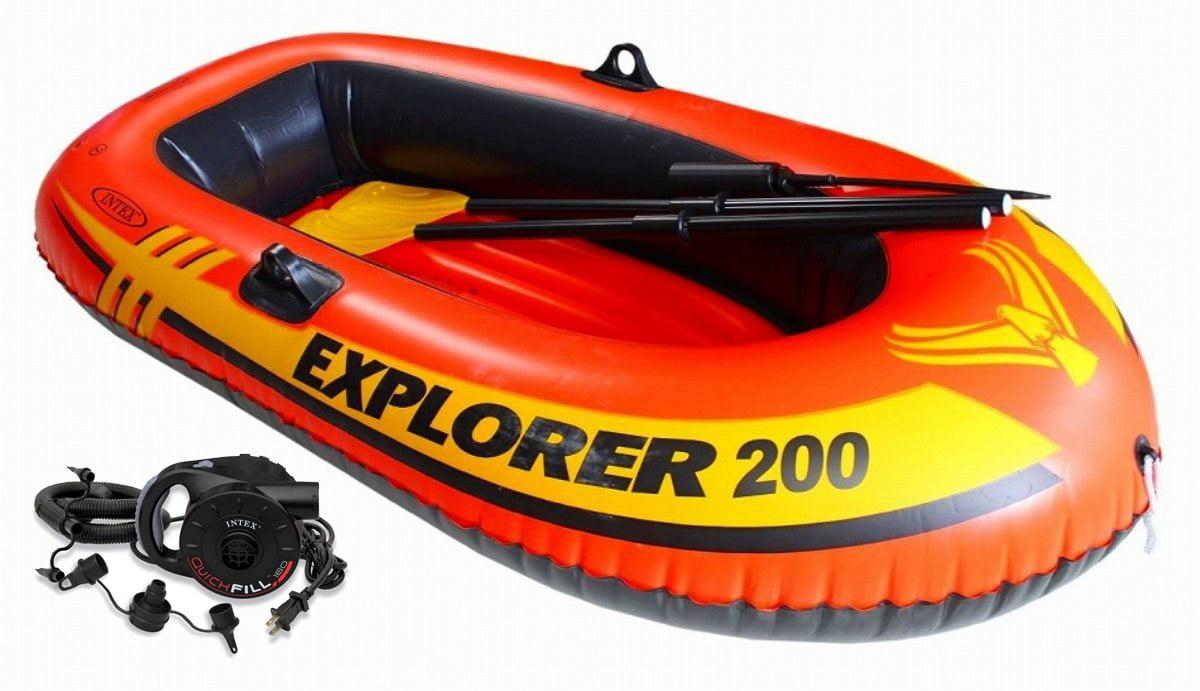 Intex Explorer 200 Inflatable Two Person Raft Boat Set w  Quick-Fill AC Air Pump by Intex