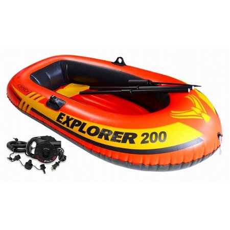 Intex Explorer 200 Inflatable Two Person Raft Boat Set w/ Quick-Fill AC Air Pump