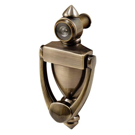 prime-line products s 4235 door knocker & viewer, diecast construction, antique brass finish, 160 degree view