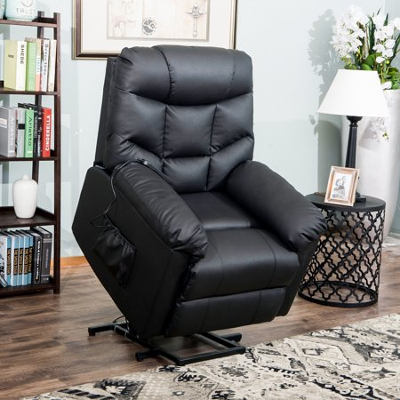 CLEARANCE! SEGMART Single Recliner Chair with Remote Control, PU Leather Ergonomic Power Lift Recliner Chair with Padded Seat Backrest for Home Theater Seating Living Room Lounge Chaise, Black, S12544