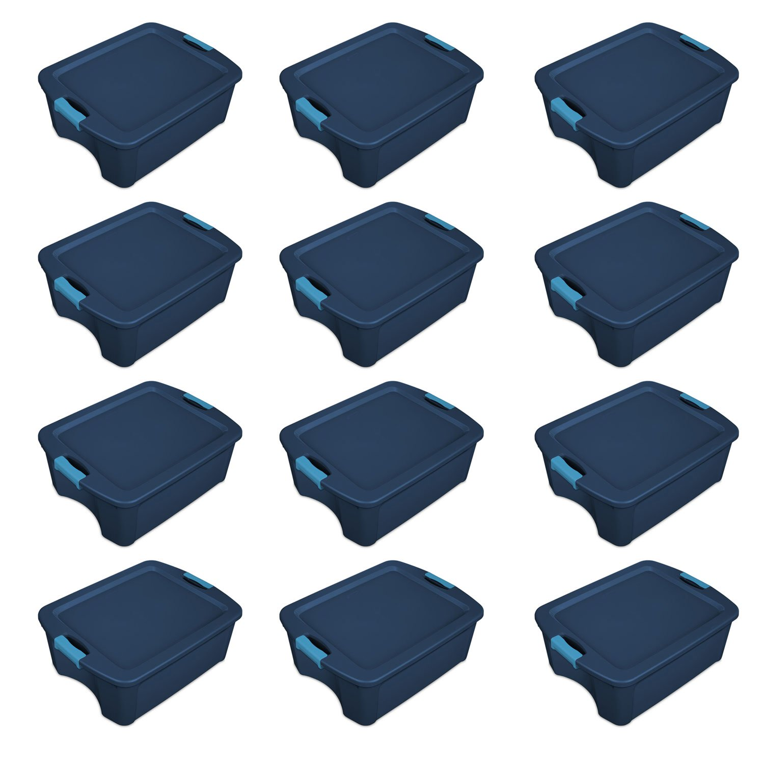 Sterilite 12 Gallon Latch and Carry Storage Tote, True Blue | 14447406 (12 Pack)