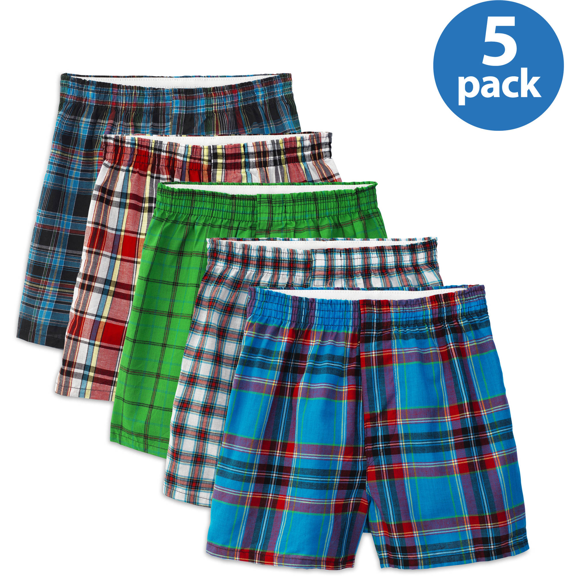 Fruit of the Loom - Boys' Assorted Tartan Plaid Boxers, 5-Pack