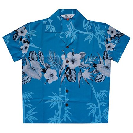 Hawaiian Party Shirts (Hawaiian Shirts 35B Boys Bamboo Beach Aloha Party Camp Turquoise)