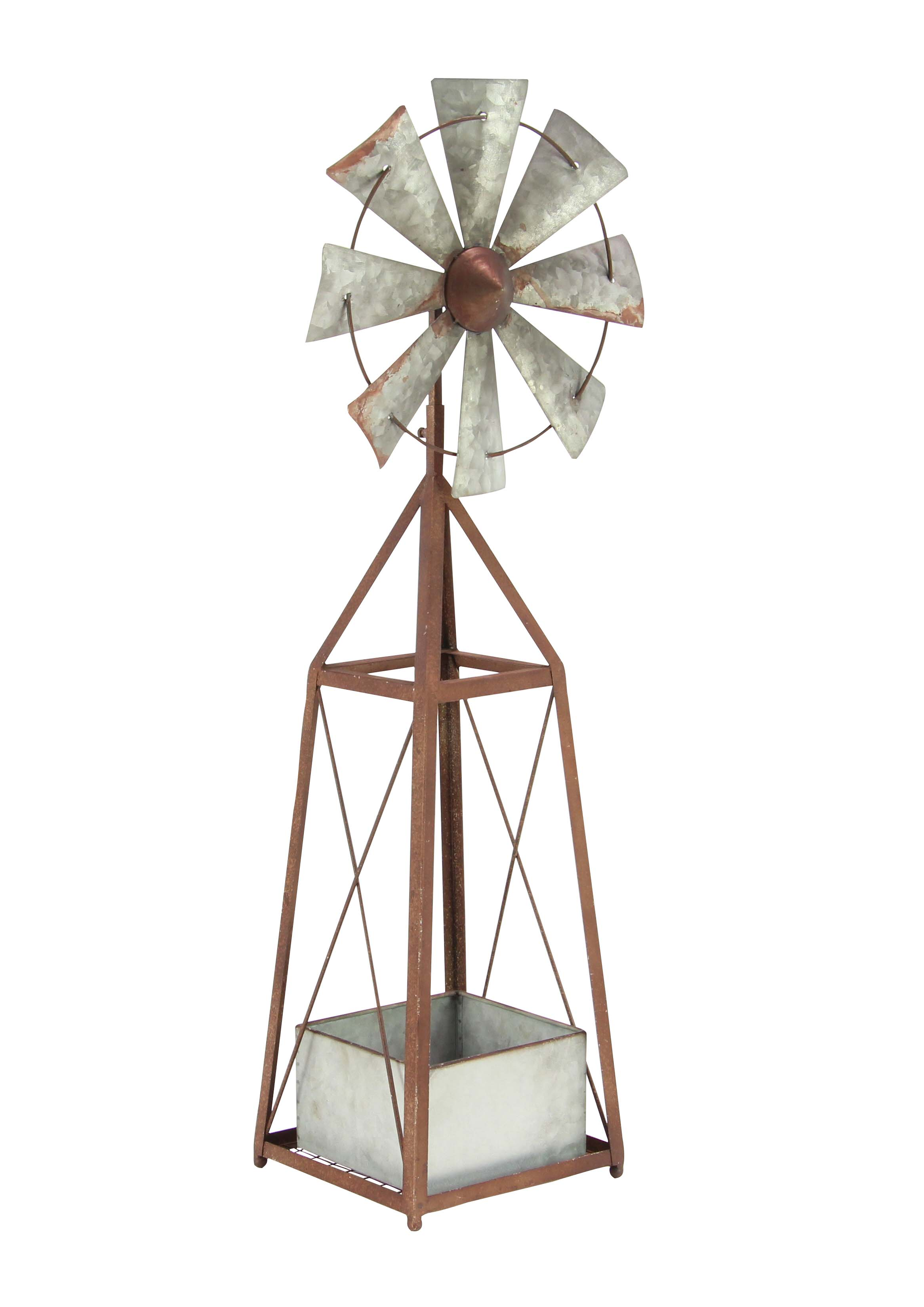 Decmode 39 Inch Farmhouse Iron Windmill Planter, Brown by DecMode