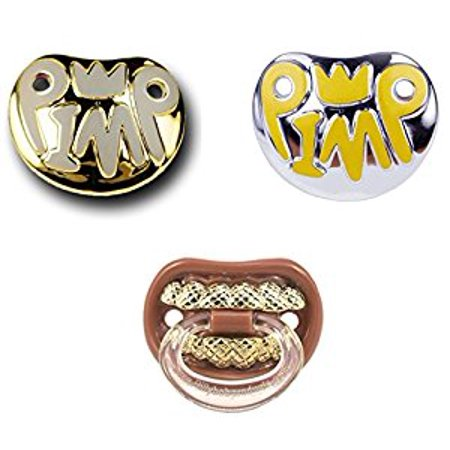 Billy Bob Baby Pacifier, 3 Pack (Pimp Gold, Pimp Silver, & Grill Thumbsucker) - Funny Pimp