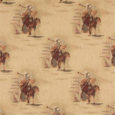 Designer Fabrics A022 54 in. Wide , Rodeo, Cowboys And Horses, Themed Tapestry Upholstery Fabric