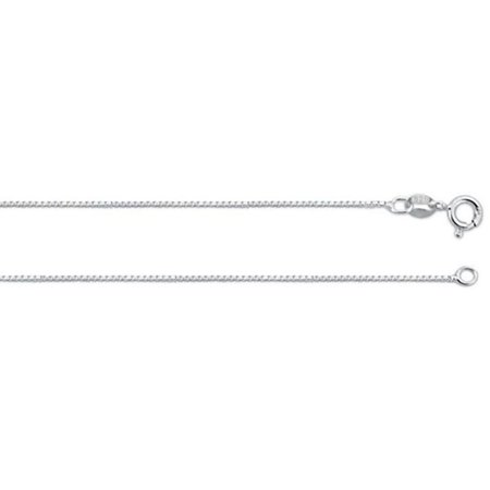 "ZilverZoom Sterling Silver .925 Box Necklace Chain 0.8mm 22"" inches. . Made in Italy"