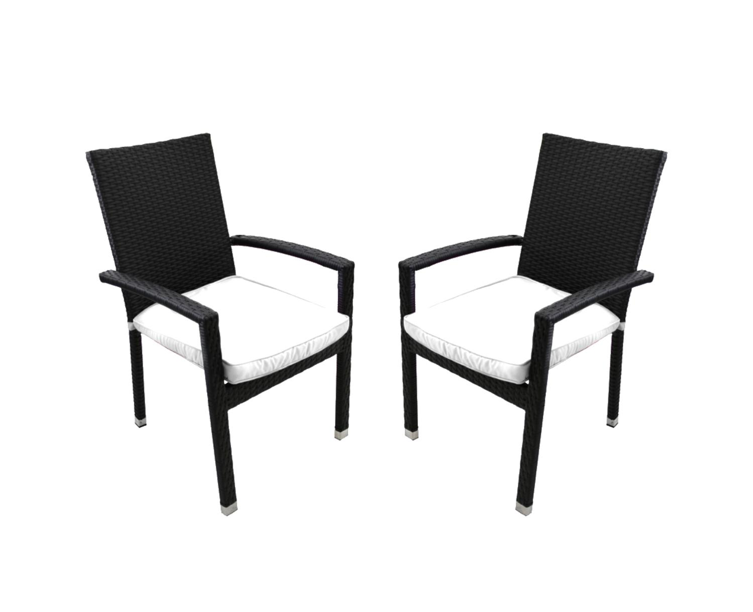 Set of 2 Black Resin Wicker Outdoor Patio Furniture Dining Chairs White Cushions by CC Outdoor Living