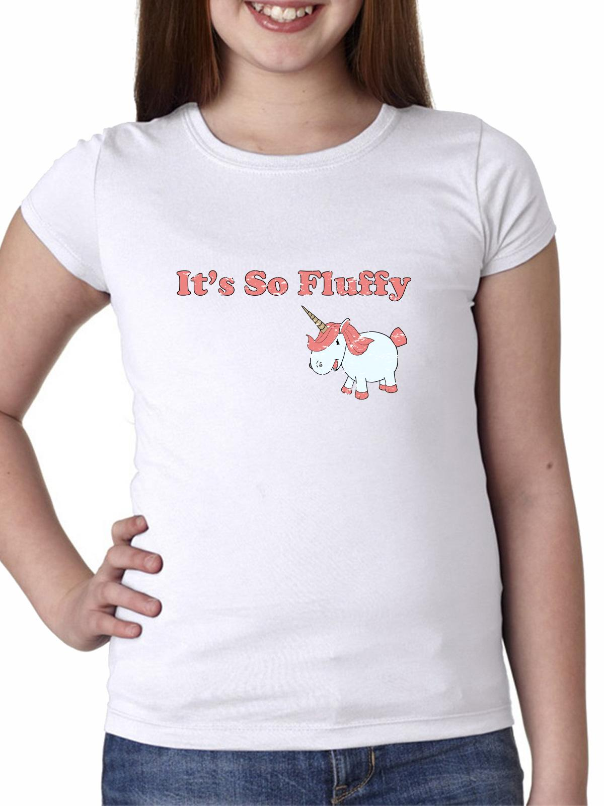 It's So Fluffy - Pink Unicorn - Funny Movie Girl's Cotton Youth T-Shirt