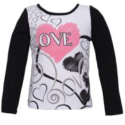 "Lipstik Little Girls Black White ""Love"" Print Long Sleeved Top 4"