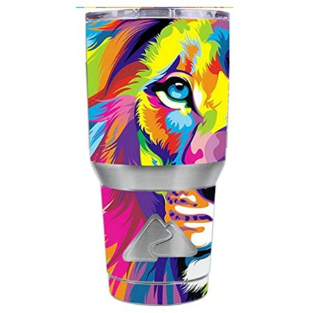 Skin Decal Vinyl Wrap for Ozark Trail 30 oz Tumbler Cup Stickers Skins Cover (6-piece kit) / Colorful Lion Abstract Paint