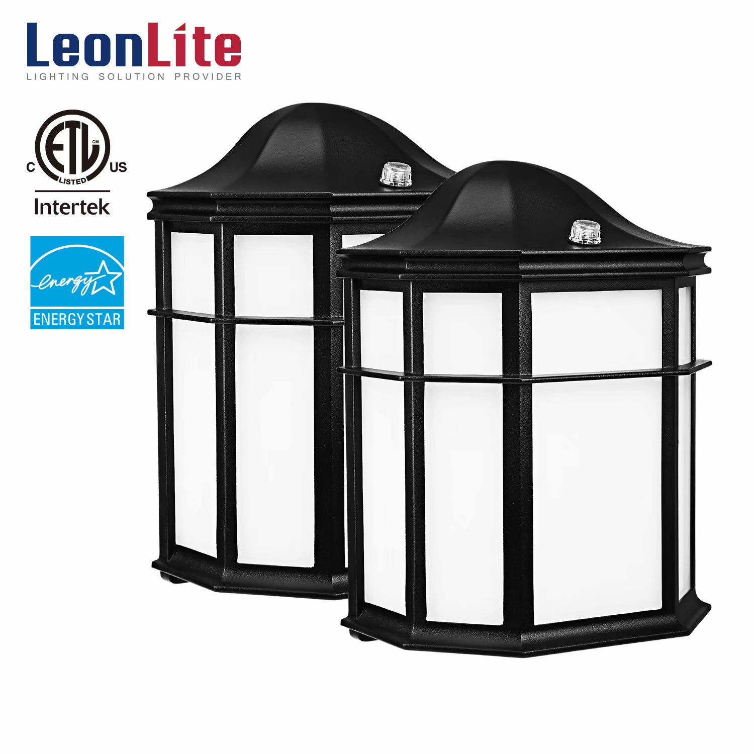 LEONLITE 2 Pack 14W LED Outdoor Wall Lights, Outdoor Exterior Wall Lantern, 5000K Daylight