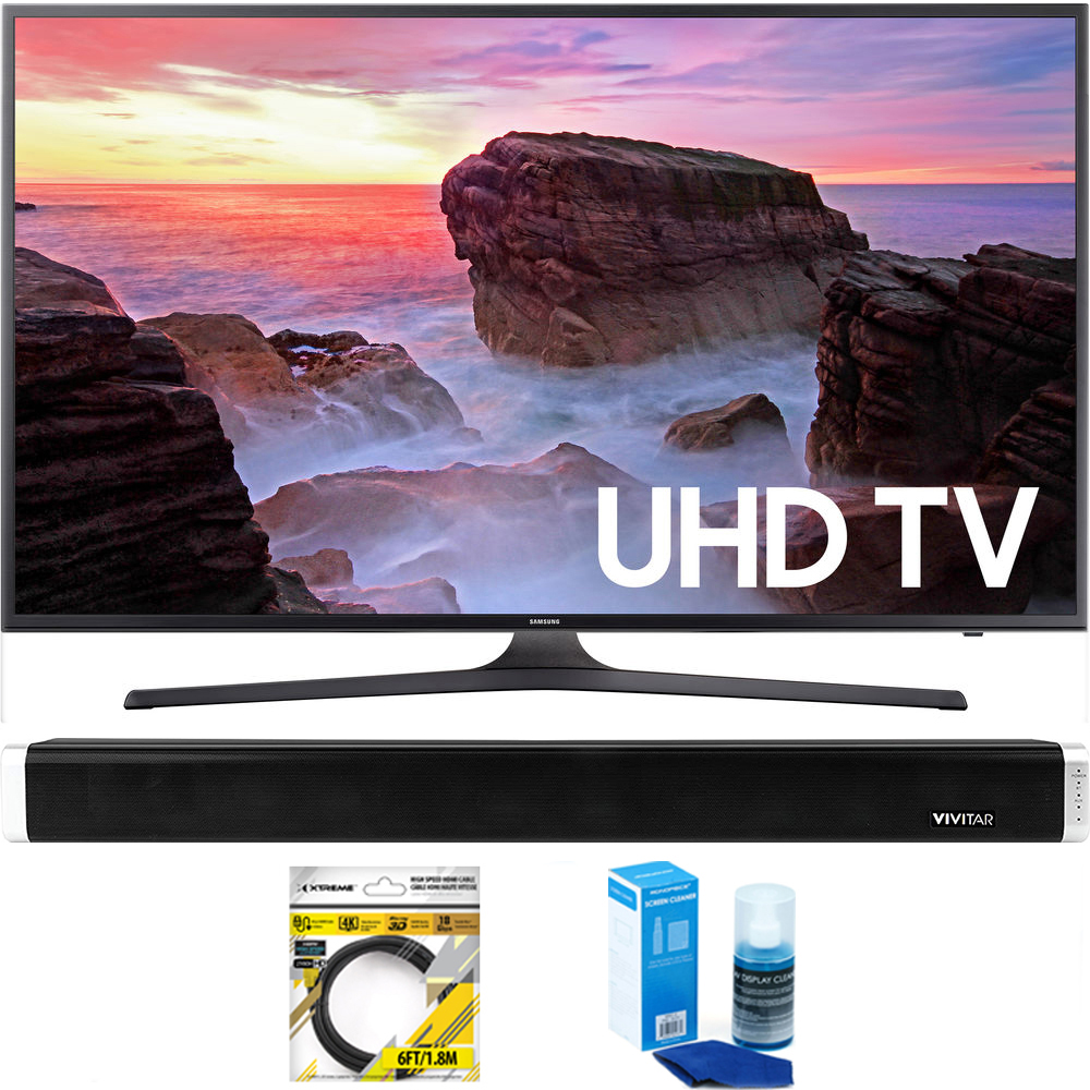 """Samsung (UN65MU6300FXZA) 65"""" 4K HDR Ultra HD Smart LED TV (2017 Model) with Vivitar 24-Inch Wall Mountable Wireless Bluetooth Soundbar + 6ft HDMI Cable + Universal Screen Cleaner for LED TVs"""