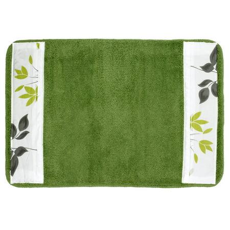 Popular Bath Mayan Leaf Sage Bath Collection - 21 x 32 Banded Bathroom Rug Leaves Bath Rug