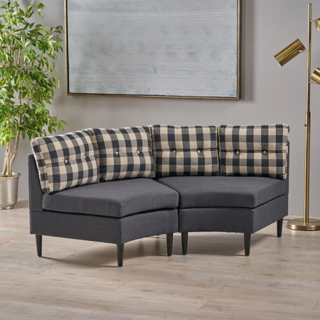 Noble House Hugh Contemporary Fabric Modular 2 Seater Sectional, Black Checkerboard with Dark Charcoal