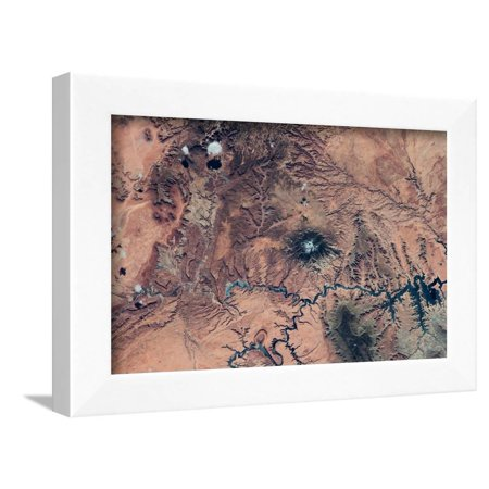 Satellite view of Novajo Nation Reservation and Lake Powell, Grand Canyon, Arizona, USA Framed Print Wall Art Grand Canyon Arizona Framed