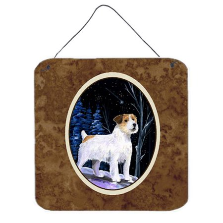 6 x 6 in. Starry Night Jack Russell Terrier Aluminium Metal Wall or Door Hanging (Jack Russell Terrier For Sale In Ny)