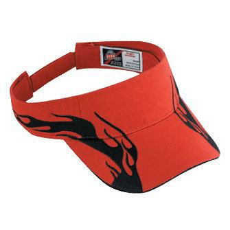 - Wholesale 12 x OTTO Flame Pattern Brushed Cotton Twill Sandwich Visor Sun Visor - Red/Blk/Blk - (12 Pcs)