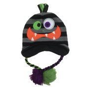 Aquarius Boys Black & Gray Stripe Monster Hat Peruvian Style Critter Trapper