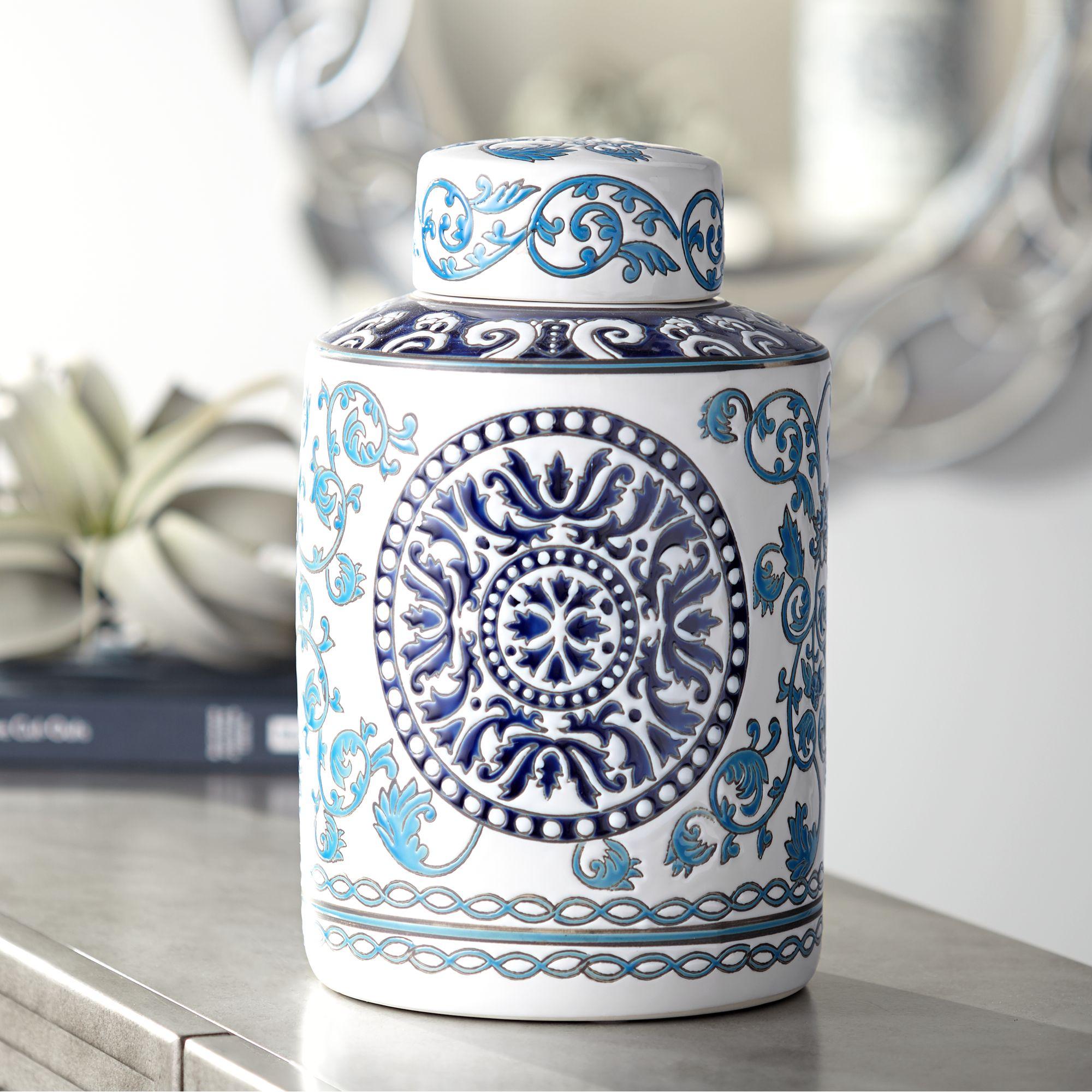 "Dahlia Studios Blue Two-Tone 12 3/4"" High Ceramic Tea Jar"