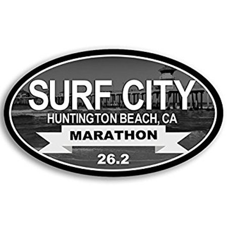 Oval Surf City MARATHON 26.2 Sticker Decal (huntington beach run running race) 3 x 5 - Party City Huntington Beach Ca