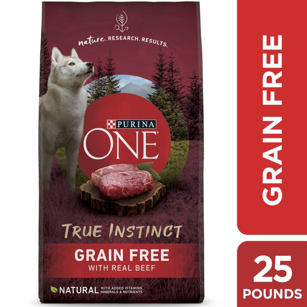 Purina ONE Grain Free Natural Dry Dog Food, SmartBlend True Instinct With Real Beef, 25 lb. Bag