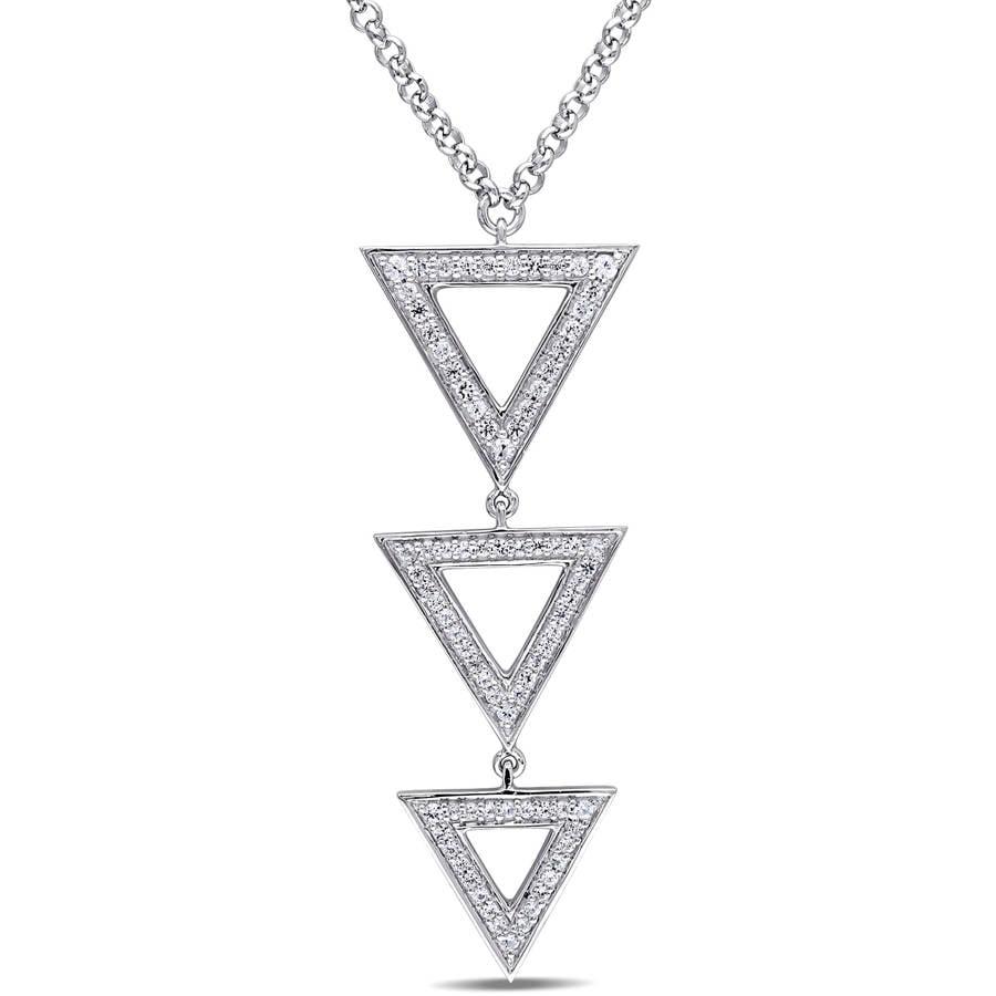 """Miabella 5 8 Carat T.G.W. White Sapphire Sterling Silver Multi-Triangle Necklace, 16"""" by Miabella"""
