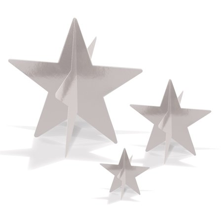 Club Pack of 36 Awards Night 3-D Silver Foil Star Table Centerpieces