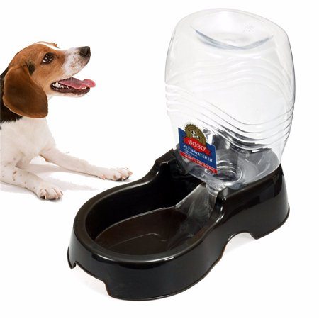 Pet Water Dispenser Station, Auto Replenish Gravity Waterer Drinking Bottle Bowl Dish Portable Stand for Dog Cat Animal