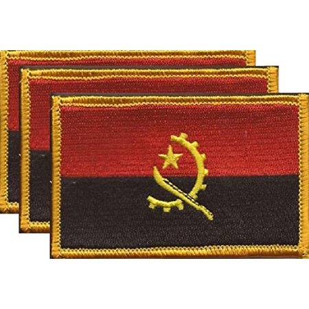 "Pack of 3 Country Flag Patches 3.50"" x 2.25"", Three International Embroidered Iron On or Sew On Flag Patch Emblems (Angola)"