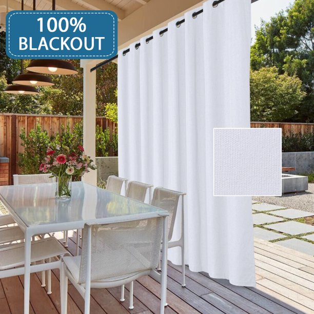 Blackout Patio White Curtain Panel, Outdoor Waterproof Curtains Patio