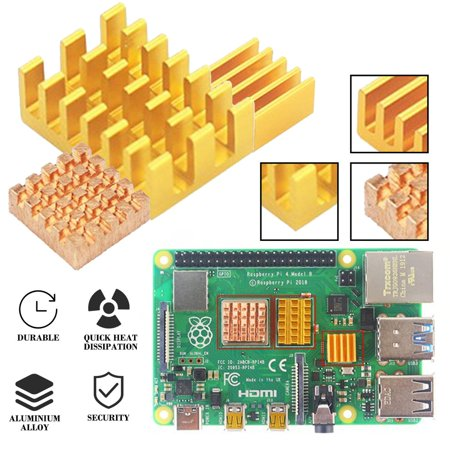 For Raspberry Pi 4 Model B Heat Sink Raspberry Pi Copper Cooling Pad Heatsink - image 6 of 7