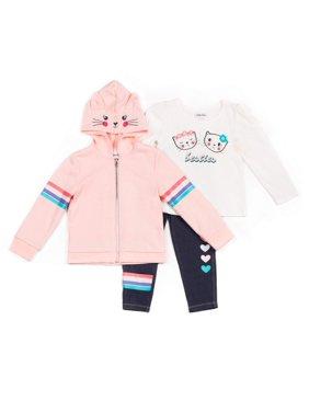 Little Lass Fleece Kitty Zip-Up Hoodie, Long Sleeve Top & Denim Leggings, 3pc Outfit Set (Baby Girls & Toddler Girls)